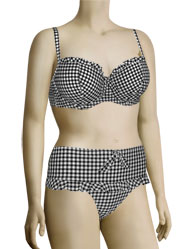 Miss Mandalay Gingham Girl UW Balconette Bikini Top GIN01BPB - Black/White