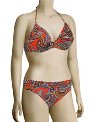 Miss Mandalay India Underwire Halter Bikini Top IND01OPHP - Orange Print