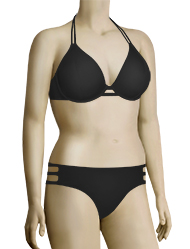 Miss Mandalay Los Angeles Underwire Halter Bikini Top LOS01BHP - Black