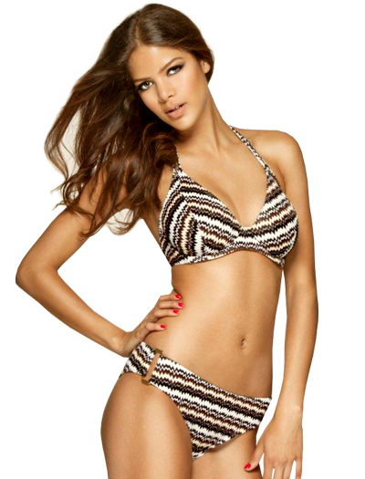 Miss Mandalay Twiga Underwire Halter Bikini Top TWI01BRHP - Brown Knit
