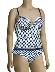 Panache Cleo Lucille Underwire Moulded Plunge Tankini CW0061 - Nautical Print