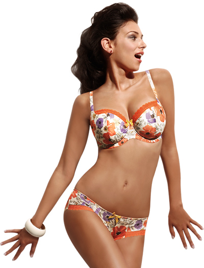Panache Cleo Poppy Balconnet Bra 6441 - Orange Floral