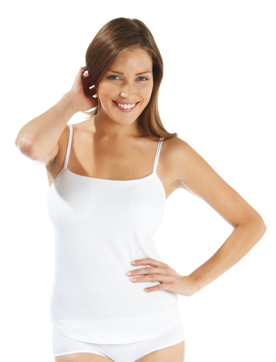 Panache Cotton Lycra Camisole With Built in Bra OV15 - White