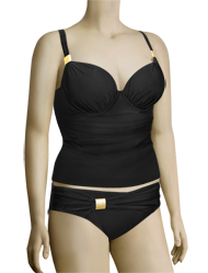 Panache Halle Underwire Padded Plunge Tankini Top SW0751 - Black