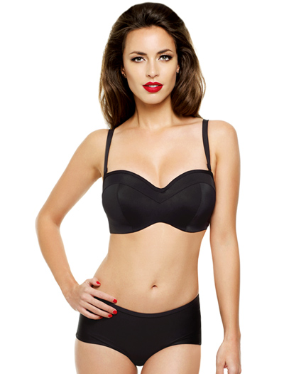 Panache Isobel Underwire Molded Bandeau Bikini Top SW0763 - Black