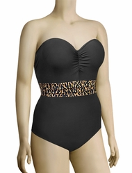 Panache Savannah Underwire Padded Bandeau Swimsuit SW0780 - Animal Print