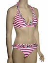 Eda Bella Stripe Hidden Wire Halterneck Bikini Top PST3-14 - Pink / Purple