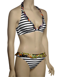 Pureda Milly Stripe Hidden Wire Halter Bikini Top PST3-7 - Black / White