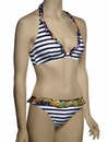 Pureda Milly Stripe Hidden Wire Halter Bikini Top PST3F - Navy / White