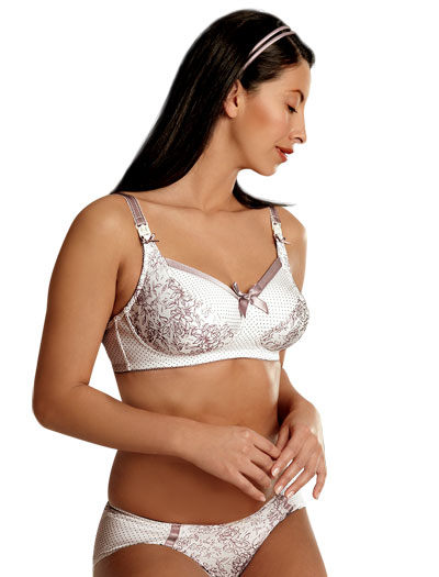 Royce Heather Unpadded Soft Cup Nursing Bra 956 - Ivory/Heather