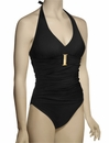 Spanx Belted Beuaty Halter One Piece Swimsuit 1397 - Black