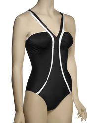 Spanx Chic Trim Deep V-Neck Swimsuit 790 - Black