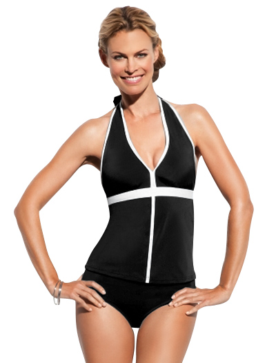 Spanx Chic Trim Halter Tankini Top 779 - Black