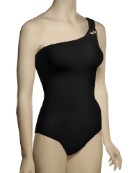 Spanx Golden Touch One Shoulder One Piece Swimsuit 1347 - Black