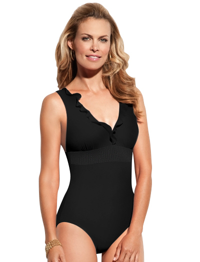 Spanxh High Style Banded Swimsuit 682 - Black