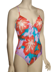 Spanx Pretty Plunge Underwire One Piece Swimsuit 1391 - Aloha Floral