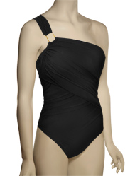 Spanx Whittle Waistline Draped Shoulder One Piece Swimsuit 1388 - Black