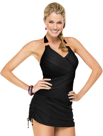 Spanx Whittle Waistline Draped Tankini Top 2096 - Black
