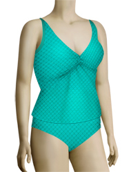 Sunsets Nautical Net Underwire Twist Tankini Top 77NNTR - Tropical Teal