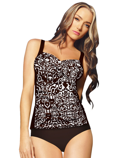 Sunsets Shirred Tankini Top W/ Foam 85T - Riviera