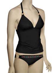 Swim Systems Onyx Braided Tankini Top D674 - Onyx