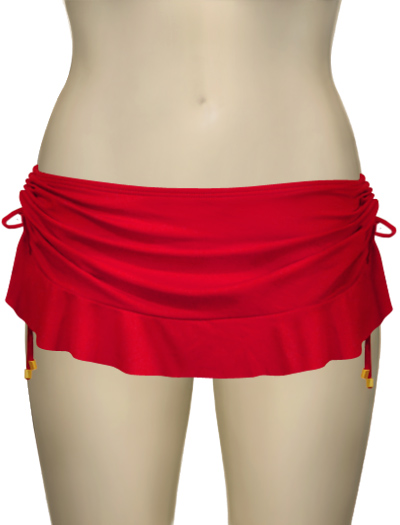 Swim Systems Sangria Flirty Skirt With Attached Bikini Bottom E286 - Sangria