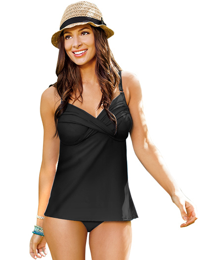 Swim Systems Shirred Underwire Tankini Top G792 - Onyx