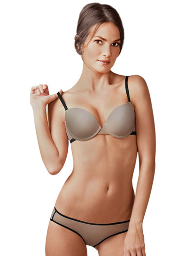The Little Bra Company Julia Demi Push-Up Convertible Bra F008 - Nude / Black