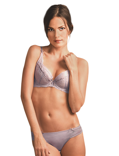 The Little Bra Company Nicole Lace Push Up Demi Cup Bra F005 - Mink / Nude