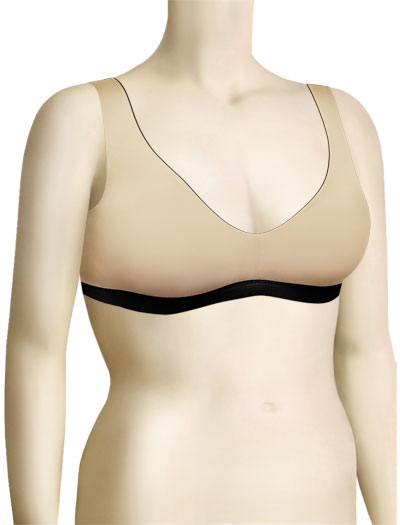 Tres Sleek Bradigy V-Neck Reversible Sleep Bra 3272 - Black / Nude