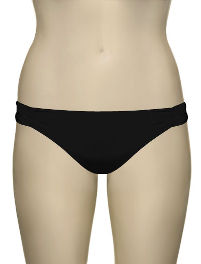 Voda Swim Ruched Scoop Bikini Bottom B33 - Black
