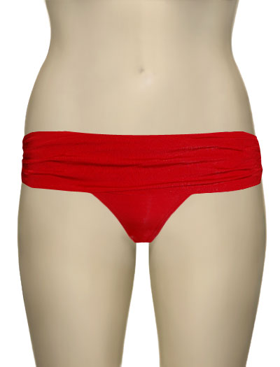 Voda Swim Shirred Band Bikini Bottom B18 - Scarlet