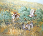 """<font size=""""2"""" font color=""""red"""">NEW</font> Brittany: Sagebrush Huns � giclee"""