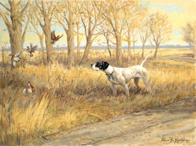 """<font size=""""2"""" font color=""""red"""">NEW</font> English Pointer and quail: Kansas Gold – giclee"""