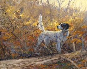 "<font size=""2"" font color=""red"">NEW</font> English Setter and woodcock: Parlor Tricks – giclee"