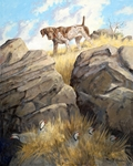 """<font size=""""2"""" font color=""""red"""">NEW</font> German Shorthaired Pointer: Precarius Point - giclee on paper"""