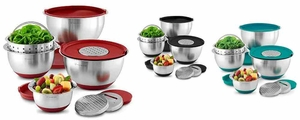 12-pieces Stainless-Steel Mixing Bowls set strainer Lids Green Black Red
