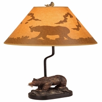 "22"" Rustic Cabin Bear and Fish Lamp"