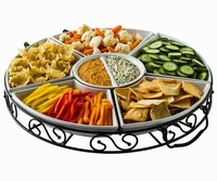 7 Pc Lazy Susan set with designer iron stand