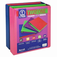 """Fashionable Two-Tone View Binder, 1"""", 4 Pack, Assortmented"""