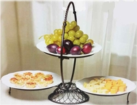 Gourmet 3 Tier Wire Buffet server with 3 Plates
