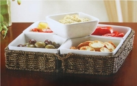 multi use buffet server with basket and stoneware bowls
