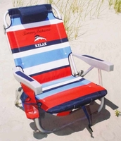 New Blue Stripe Tommy Bahama 2015 Backpack Cooler Beach Chairs