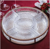 Shannon Crystal 6 Piece Metal and Glass Serving Set