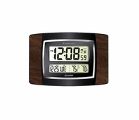 Sharp Woodgrain Digital Atomic Wall Clock