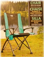 Timber Ridge Green and Black High Back Chair with cup Holder