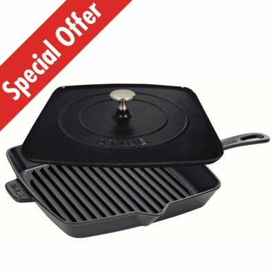 "American Square Grill 12"" and Staub Press Set - Black Matte"