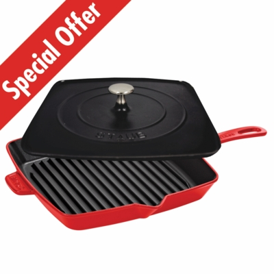 "American Square Grill 12"" and Staub Press Set - Cherry"