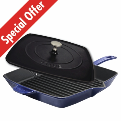 "Staub Cast Iron 12"" Square Grill Pan & Press Set - Dark Blue"