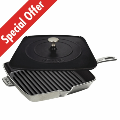 "American Square Grill 12"" and Staub Press Set - Graphite Grey"